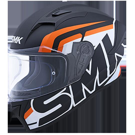 SMK Stellar Stage Gloss Black White Orange (GL217) Full Face Helmet