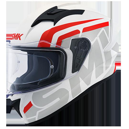 SMK Stellar Stage Gloss White Grey Red (GL163) Full Face Helmet