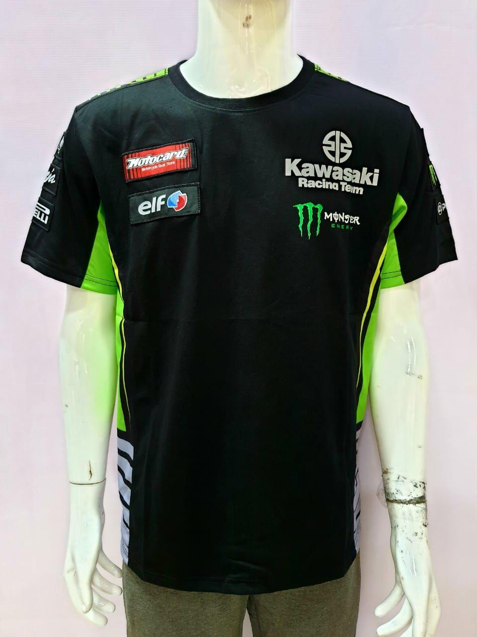 Motocard Kawasaki Racing Team Monster Energy Round Neck T-Shirt