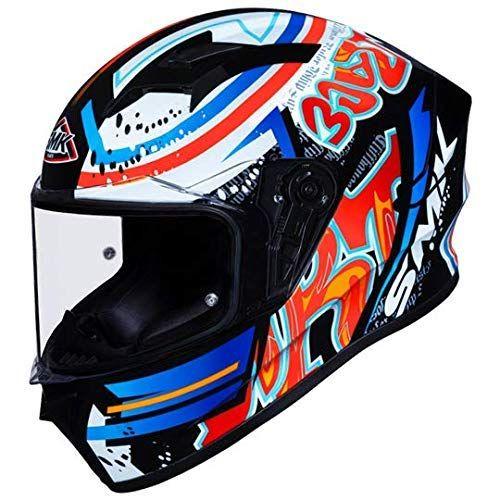 SMK Stellar Graffiti Gloss Black Red Orange (GL237) Full Face Helmet