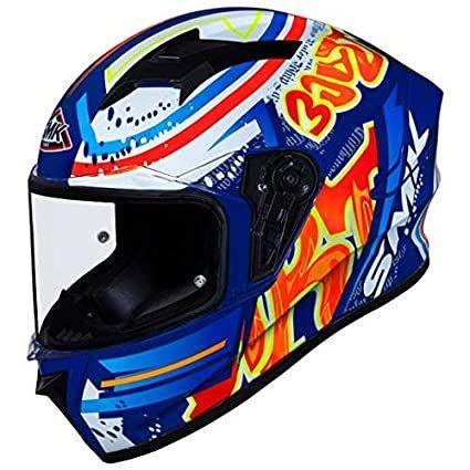 SMK Stellar Graffiti Gloss Blue Red Orange (GL537) Full Face Helmet