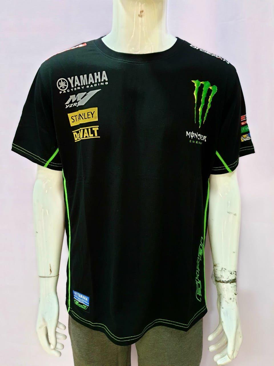 Yamaha M1 YZR  Tech3 Monster Energy Black Round Neck T Shirt
