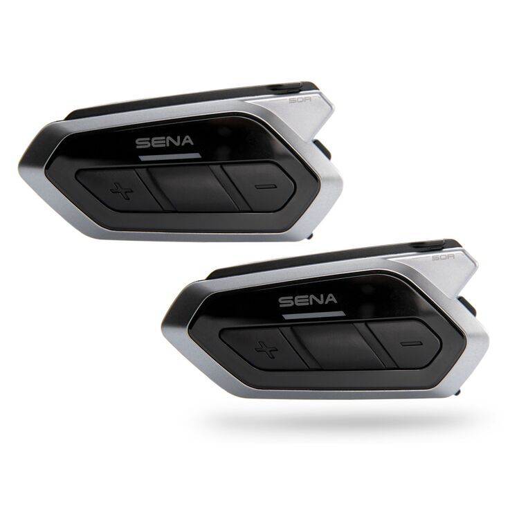 Sena 50R Low Profile Motorcycle Bluetooth Communication System with Mesh Intercom - Dual Pack