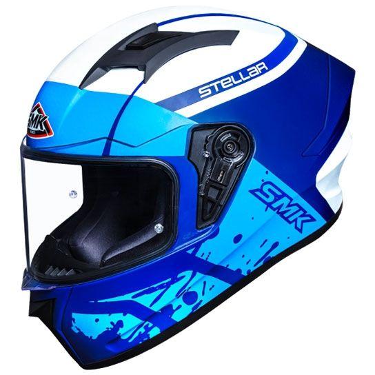 SMK Stellar Squad Gloss Blue Blue White (GL551) Full Face Helmet