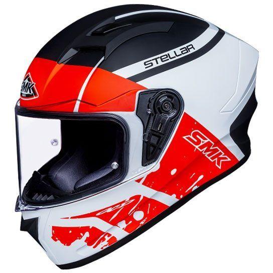 SMK Stellar Squad Gloss White Red Black (GL132) Full Face Helmet