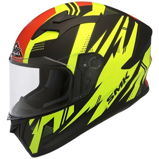 SMK Stellar Trek Gloss Black Yellow Red (GL243) Full Face Helmet