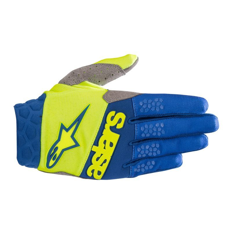 Alpinestars Moto Cross-Offroad Racefend Gloves Yellow Fluo Blue
