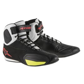Alpinestars Faster Vented Shoes Black White Yellow Fluro