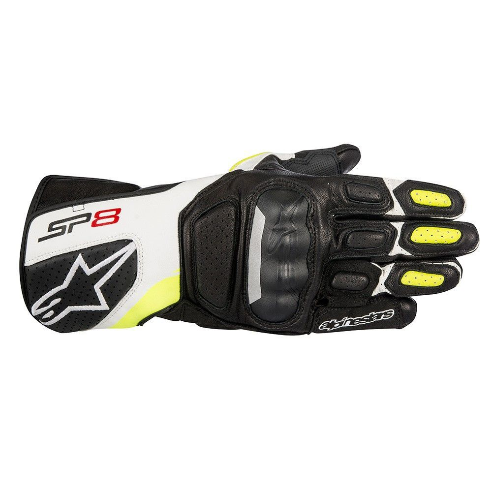 Alpinestars Sp-8 V2 Gloves Black White Yellow Fluro