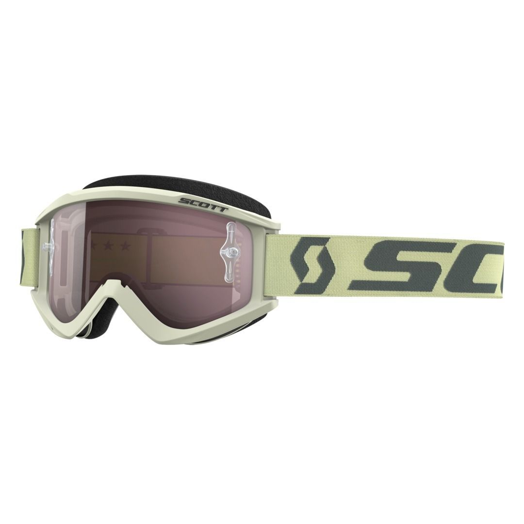 SCOTT MOTO GOGGLE RECOIL XI BEIGE/BROWN/SILVER CHROME WORKS