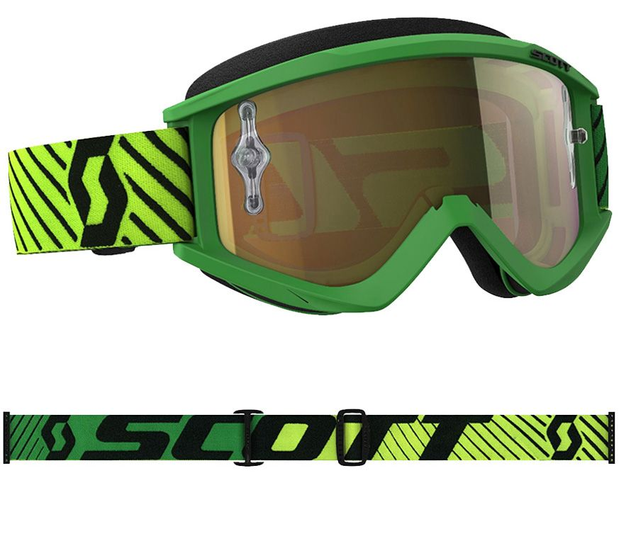 SCOTT HUSTLE MX GOGGLE YELLOW/GREEN/GOLD CHROME WORKS