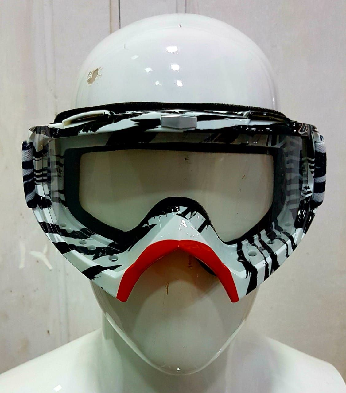 Vemar White Black Off Road Moto Cross Clear Goggles