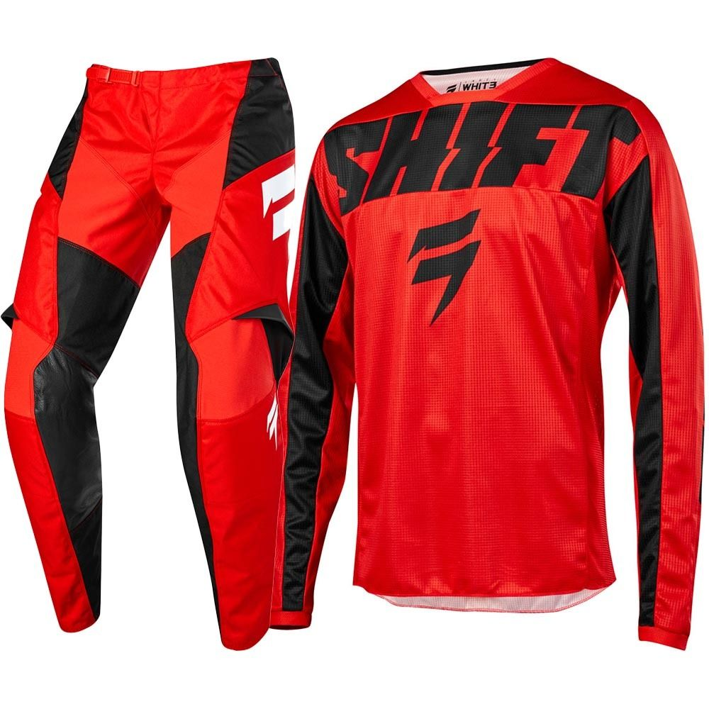 SHIFT Red  Black Jersey Pants Set